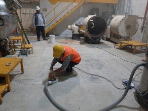 Reparación de piso Polimérico con Mortero Epoxico Autonivelante
